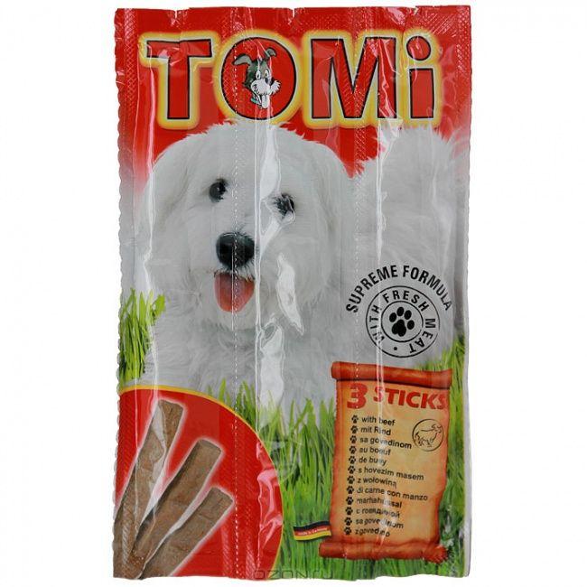 Палочки Tomi для собак 3шт*10гр. с говядиной  (уп-20 шт) от Ravta
