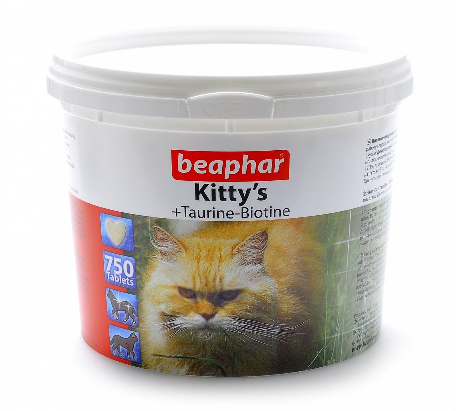 Beaphar Витамины д/кошек с таурином и биотином, сердечки Kitty's Taurine + Biotin, 750шт. от Ravta