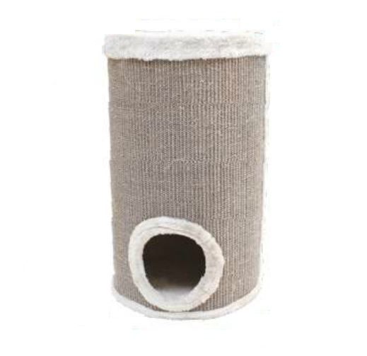 Когтеточка-башня, 35х35х60 см, сизаль/плюш, серая C6020467