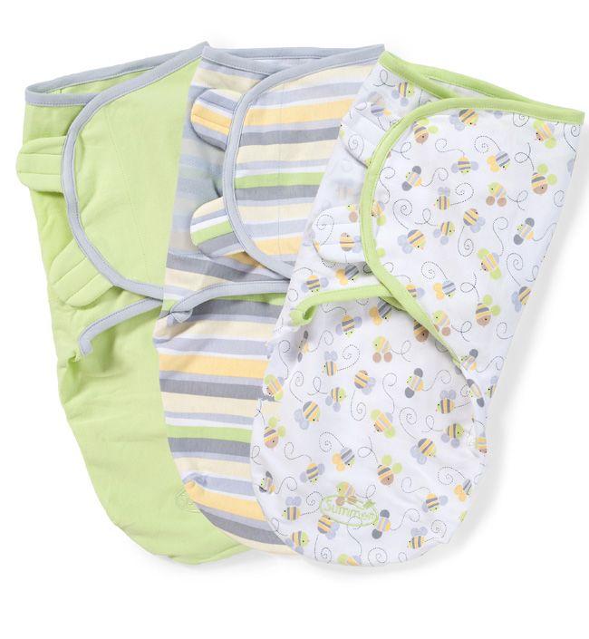 Набор конвертов для пеленания на липучке SwaddleMe (3 шт.) (цвет - Cеро-салатовый/пчелки/полоски), Summer Infant от Ravta
