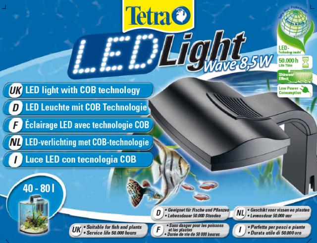 tetra Светильник Tetra LED Light Wave 8,5 вт, для аквариумов 40-80 л (макс.толщина стекла 6мм) 236936