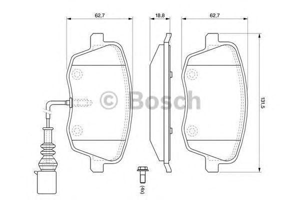 Тормозные колодки Bosch передние дисковые комплект Skoda Fabia 1999-2007 [0986494105] от Ravta