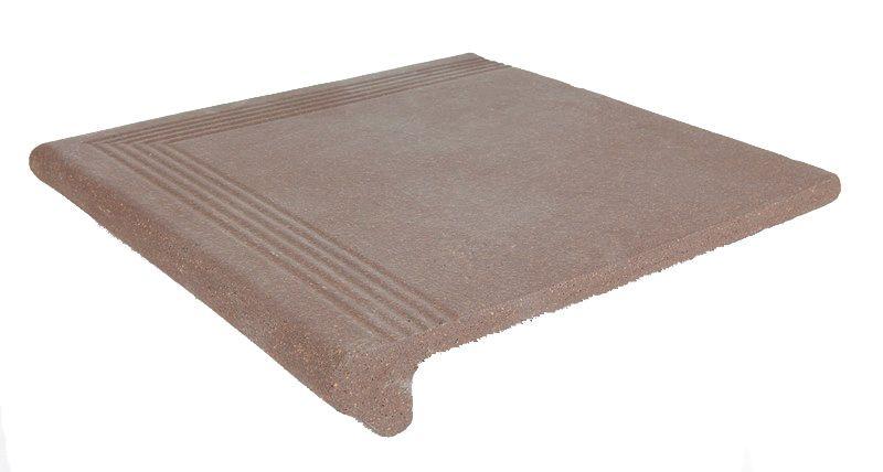 Керамическая плитка ступень с закруглением угловая Клинкер Grestejo Rubi Brown коричневый 340*340 (ш от Ravta