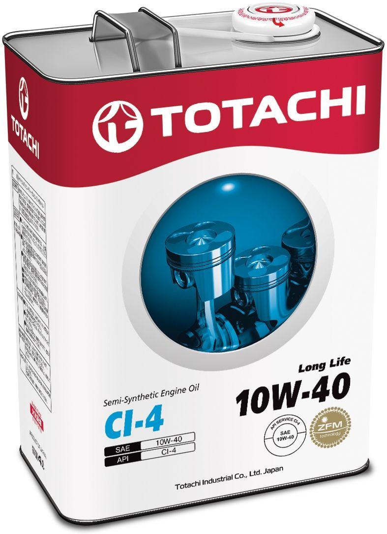 Масло TOTACHI Long Life Semi-Synthetic CI-4 10W-40 (6л)Totachi<br><br><br>Артикул: 4562374690585<br>Тип масла: Моторное<br>Состав масла: полусинтетическое<br>Вязкость по SAE: 10W-40<br>API: CI-6<br>Тип двигателя: дизельный<br>Бренд: TOTACHI<br>Применение масла: двигатели грузового транспорта<br>Вид фасовки: жестяная банка<br>Родина бренда: Япония<br>Объем (л): 6