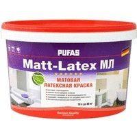 Краска Пуфас моющаяся латексная матовая Matt-Latex мороз. (10л=15,2кг) (МЛ) Россия от Ravta