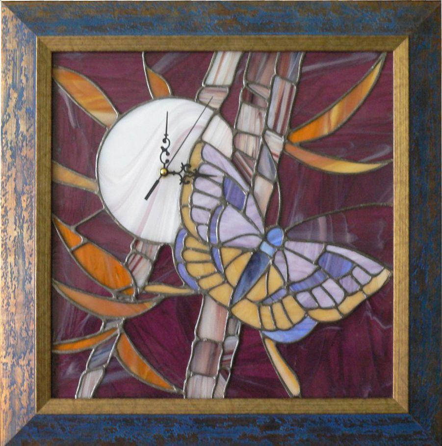 """Часы-мозаика """"Ночная бабочка"""" ручной работы 46х46см от Ravta"""