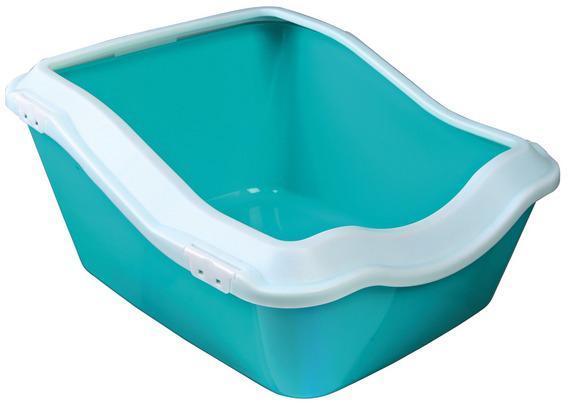 Туалет TRIXIE кошачий с бортиком, 45 * 21 (29) * 54 см, белый/аквамаринТуалеты для животных<br><br><br>Артикул: 40374<br>Бренд: TRIXIE<br>Страна-изготовитель: Китай<br>Для кого: Кошки