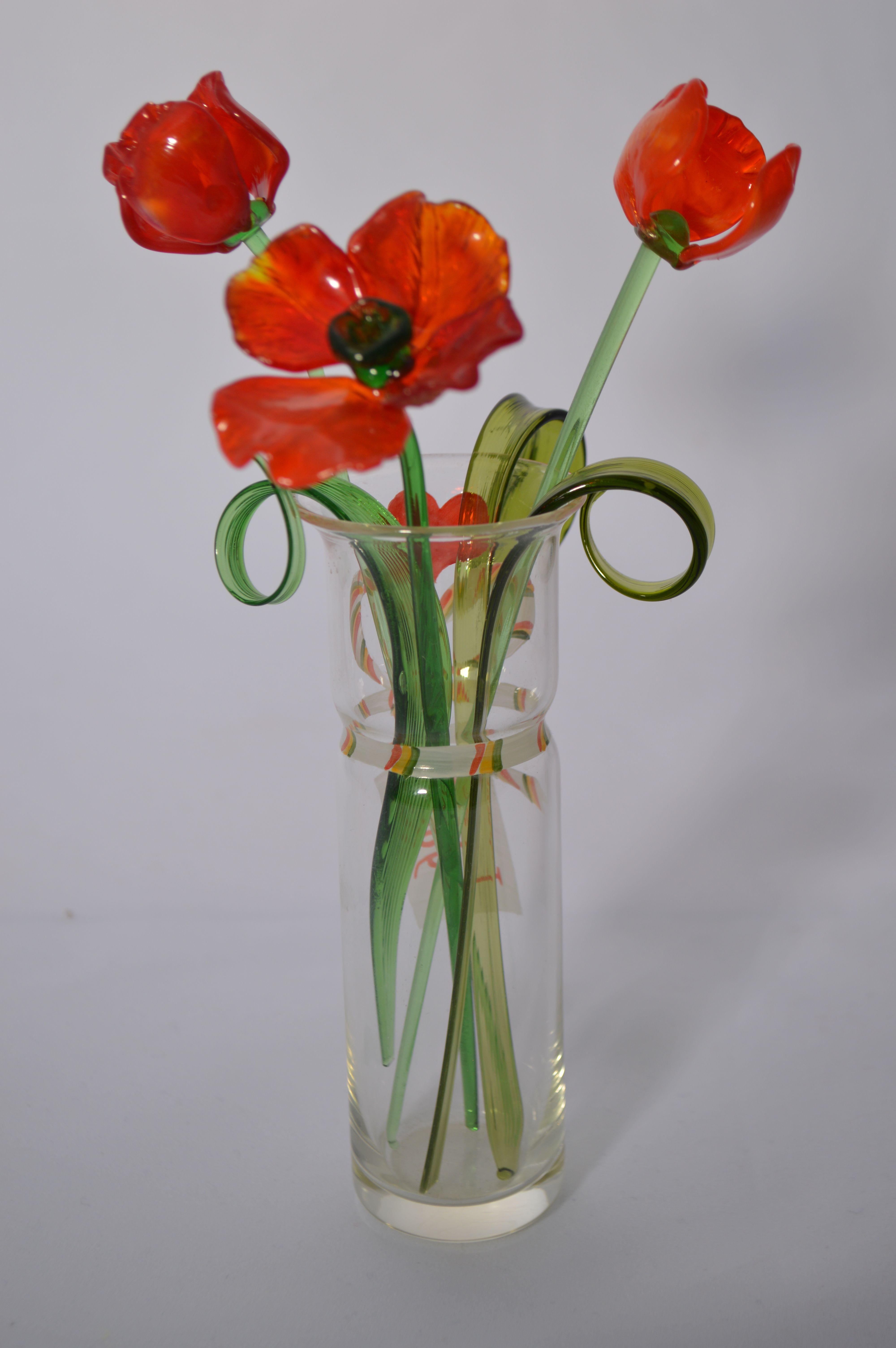 Букет 1 из трех маков в вазочке, цветное стекло от Ravta