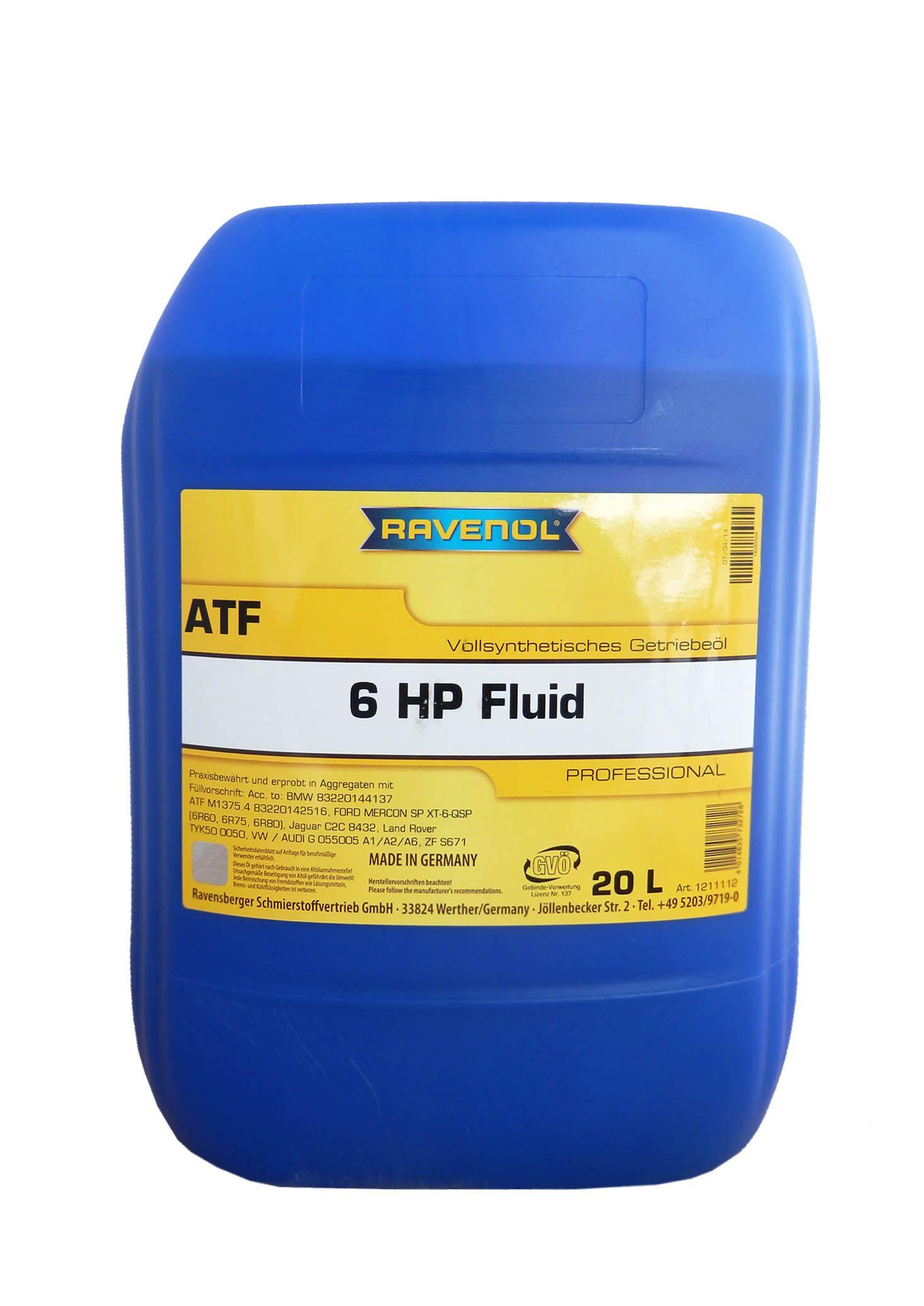 Масло Ravenol ATF 6 HP Fluid (4014835732728) (20л)Ravenol<br><br><br>Артикул: 4014835732728<br>Бренд: Ravenol
