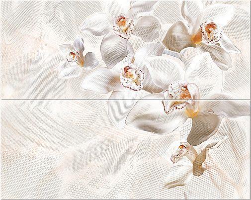 Керамическая плитка панно Azori Agat Orchid Beige бежевый 505*201 (2шт.) от Ravta