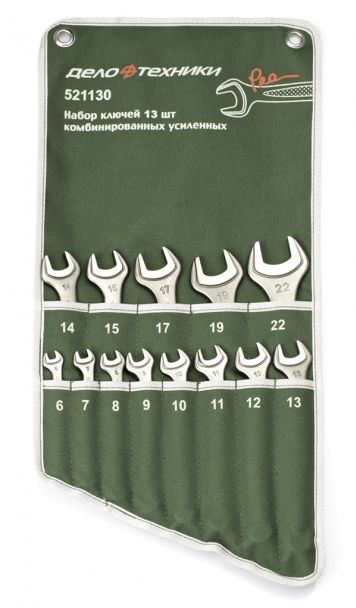 Набор Дело Техники ключей комбинированных усиленных 13 предм. (6-15,17.19,22, мм)/10 арт.521130 от Ravta