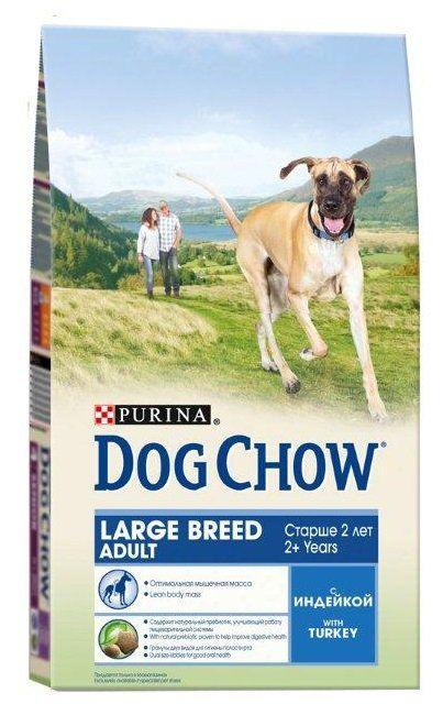 Корм Dog Chow Adult LARGE BREED для собак индейка 14кгПовседневные корма<br><br><br>Артикул: 12233249<br>Бренд: PURINA<br>Вид: Сухие<br>Вес брутто (кг): 14<br>Страна-изготовитель: Венгрия<br>Вес упаковки (кг): 14<br>Ингредиенты: Индейка<br>Для кого: Собаки