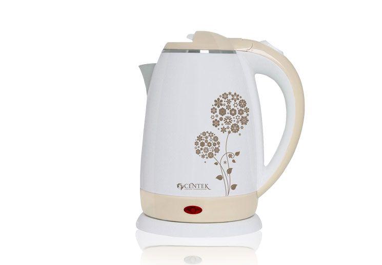 Чайник Centek CT-1026 BG, 1,5л., (бежевый/рисунок)Чайники<br><br><br>Бренд: Centek<br>Материал: металл<br>Потребляемая мощность (Вт): 2000<br>Блокировка включения без воды: есть<br>Нагревательный элемент: скрытый<br>Гарантия производителя: да<br>Общий объем (л): 1,5<br>Цвет: бежевый<br>Указатель уровня воды: да<br>Индикация включения : есть<br>Автоотключение при закипании: есть<br>Вращение на 360 градусов: есть