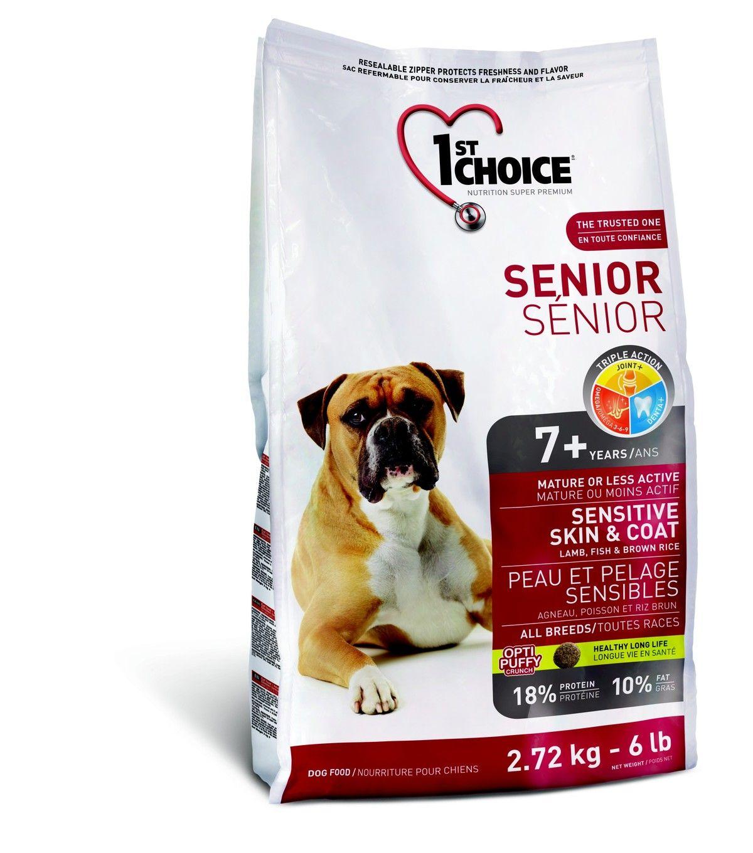 Корм 1st Choice  для пожилых собак с чувительной кожей, для шерсти, ягнёнок с рыбой и рисом, 2,72кгПовседневные корма<br><br><br>Артикул: 102.330<br>Бренд: 1ST CHOICE<br>Вид: Сухие<br>Страна-изготовитель: Канада<br>Вес упаковки (кг): 2,72<br>Размер/порода: Для всех пород<br>Ингредиенты: Ягнёнок<br>Для кого: Собаки<br>Особая серия: Здоровье кожи и шерсти