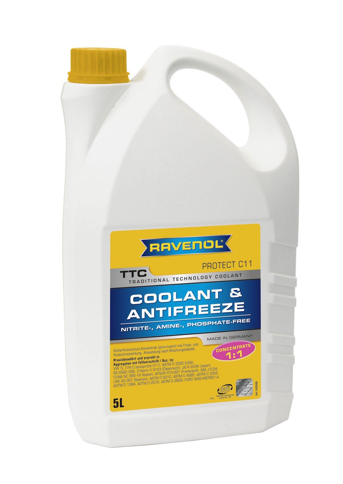 Антифриз концентрат жёлтый Ravenol TTC Traditional Technology Coolant Concent ( 5л) от Ravta