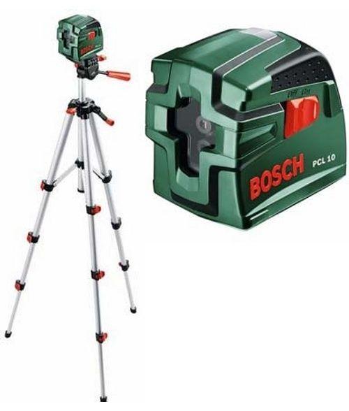 Нивелир лазерный линейный BOSCH PCL 10 SET+ штатив (линейн, 2 плоск, 10м, точн.0,5мм/м, 0,5 кг,чехол) от Ravta