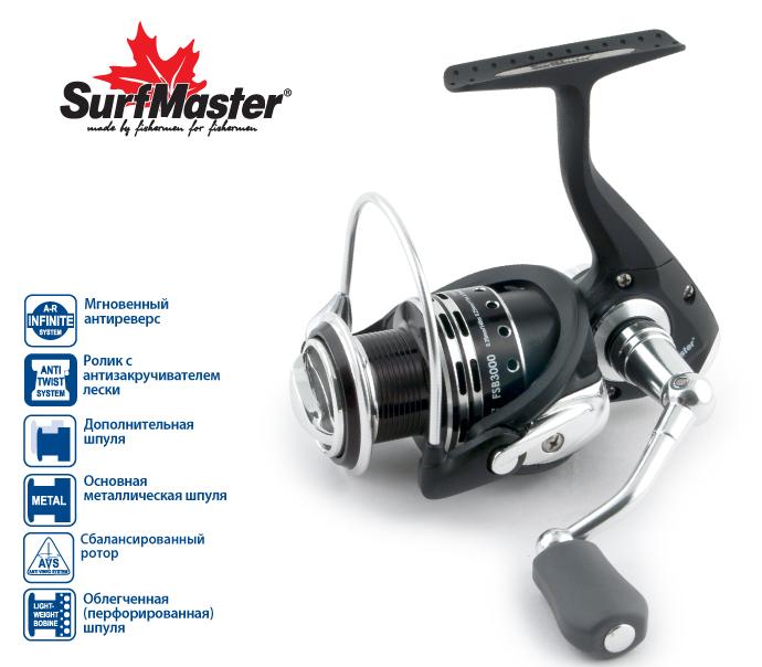 Катушка б/ин. Surf Master Sea Bass FSB2000A 7+1bb з/шБезинерционные<br><br><br>Артикул: SMFSB2000<br>Бренд: Surf Master<br>Количество штук в упаковке: 1<br>Продажа товара кратно упаковке: Да