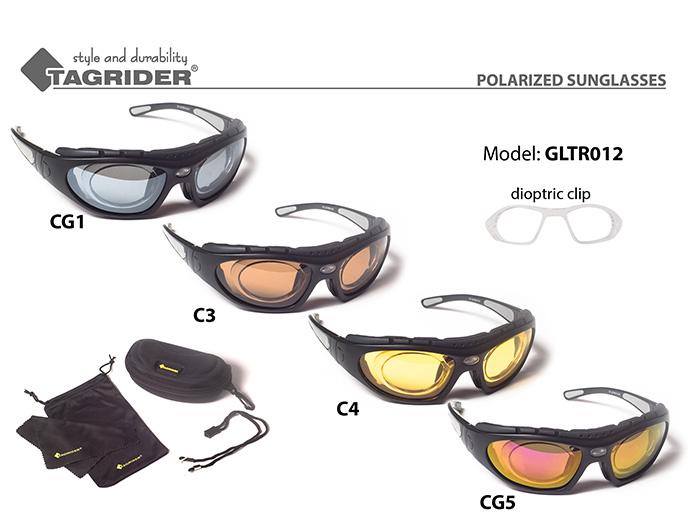 Очки поляриз.Tagrider в чехле GLTR 012 CG5 RB/M диоптрийная вставка уплотнитель EVA от Ravta