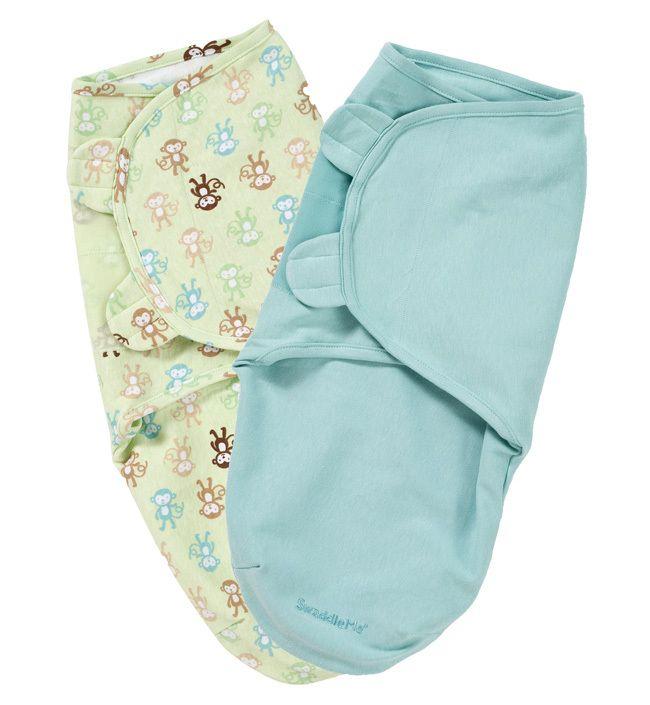 Конверты для пеленания на липучке SwaddleMe (2 шт.) (цвет - Белый с животными/салатовый (размер L)), Summer Infant от Ravta