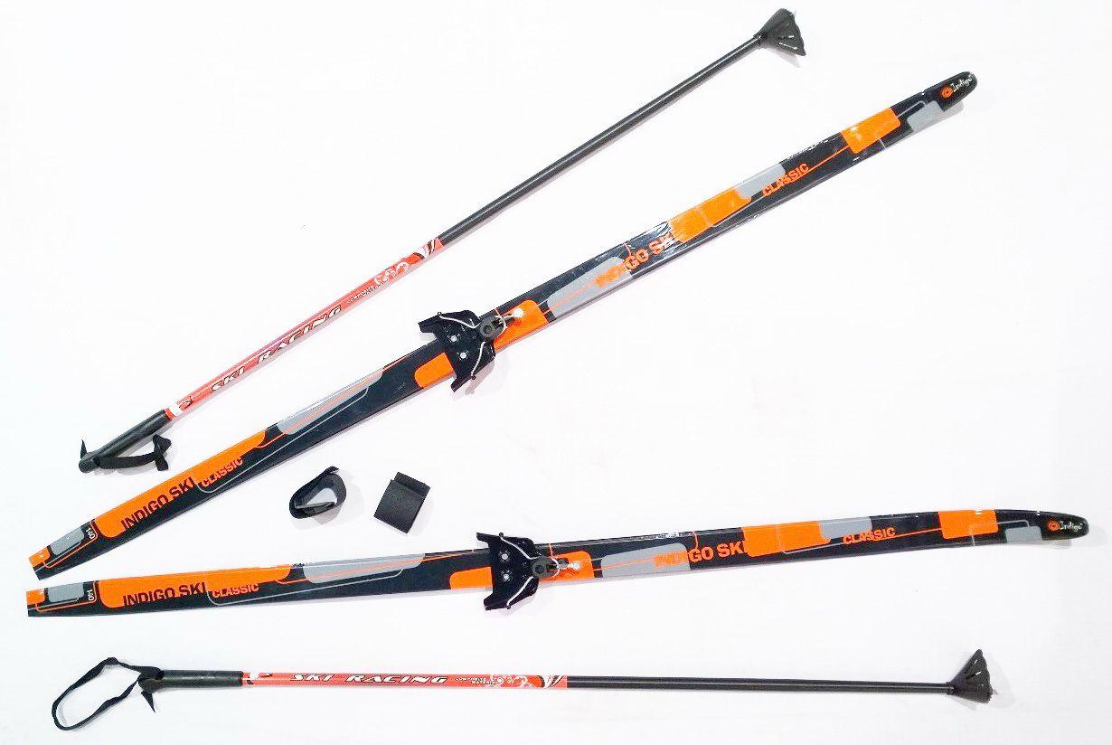 Лыжный комплект п/пл INDIGO CLASSIC 1,6м лыжи, 75 кр, палки, стяжки 75 кр, п, 1.6 Оранжевый от Ravta