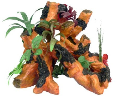 "Декор для аквариума ""Коряга с растениями"", полирезин, 40х34х34 см от Ravta"