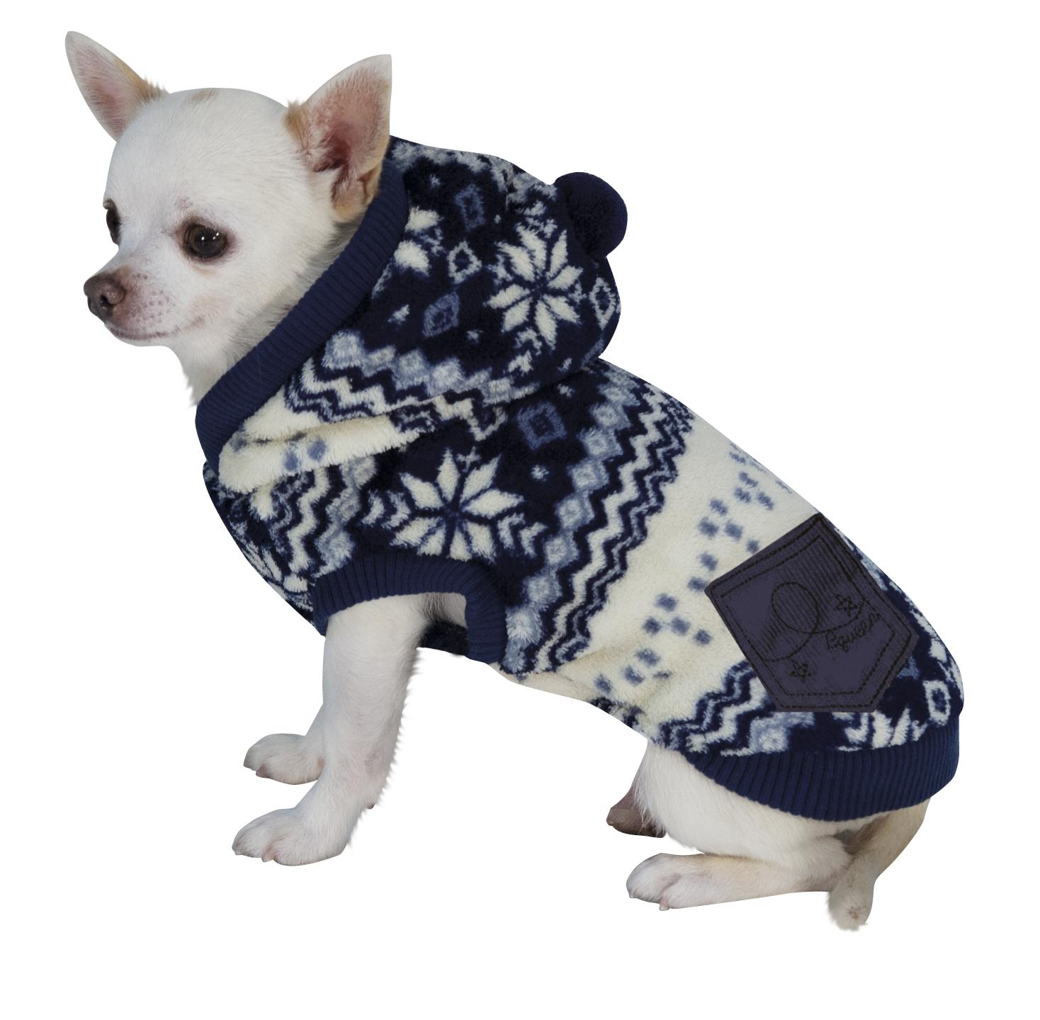 """Комбинезон вязаный для собак с капюшоном """"Снежинка"""", 35 см, сине/белый от Ravta"""