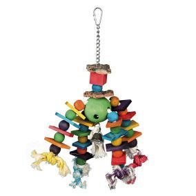 Игрушка д/попугая деревянная, разноцветная, на цепочке, 35 см от Ravta