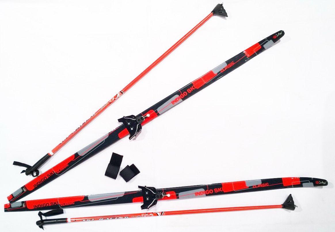 Лыжный комплект п/пл INDIGO CLASSIC 1,6м лыжи, 75 кр, палки, стяжки 75 кр, п, 1.6 Красный от Ravta