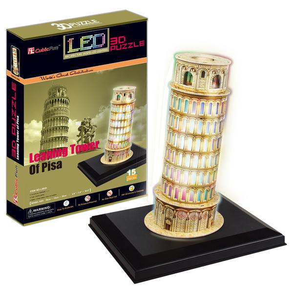 Объемный 3d Пазл Пизанская башня с иллюминацией (Италия), CubicFun L502h от Ravta