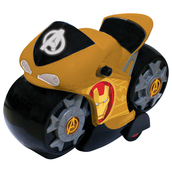 """Yellow 5073 Инерционный мотоцикл """"Мстители"""" 15 см, 4 цвета в ассортименте от Ravta"""
