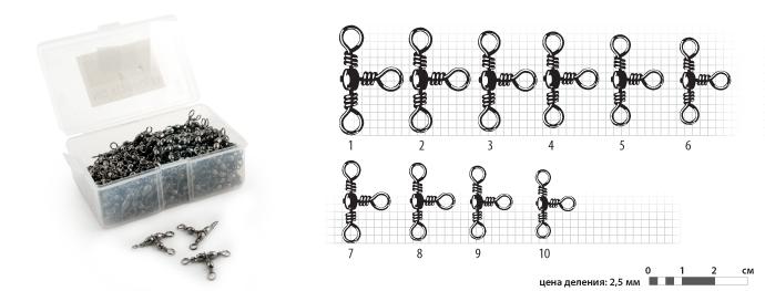Вертлюг L № 1 (100 шт.) тройной BLВертлюги, застёжки, кольца<br><br><br>Артикул: L-1-F100<br>Бренд: Ravta<br>Количество штук в упаковке: 1<br>Продажа товара кратно упаковке: Да