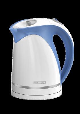Чайник ЛАДОМИР 324 арт5,2кВт, 1,7л, бело-голубойЧайники<br><br><br>Артикул: 3804<br>Бренд: ЛАДОМИР<br>Материал: пластик<br>Потребляемая мощность (Вт): 2000<br>Блокировка включения без воды: есть<br>Нагревательный элемент: скрытый<br>Гарантия производителя: да<br>Общий объем (л): 1,7<br>Цвет: белый<br>Указатель уровня воды: да<br>Индикация включения : есть<br>Автоотключение при закипании: есть<br>Вращение на 360 градусов: есть