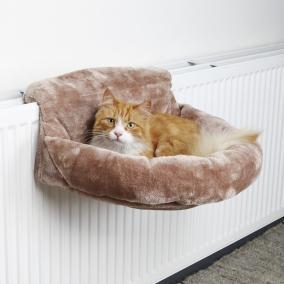 Лежак-гамак подвесной на радиатор д/кошки, 46х11х33 см, плюш, коричневый от Ravta