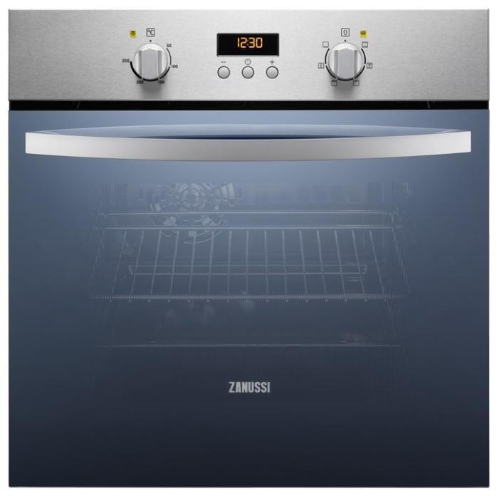Электрический духовой шкаф  Zanussi ZZB 525601 XВстраиваемые электрические духовые шкафы<br><br><br>Артикул: ZZB525601X<br>Бренд: Zanussi<br>Потребляемая мощность (Вт): 2725<br>Количество режимов работы: 6<br>Таймер: да<br>Гриль: да<br>Конвекция: да<br>Защитное отключение: есть<br>Установка: независимая<br>Комплектация: 1 противень, 1 решетка<br>Гарантия производителя: да<br>Часы: электронные<br>Дисплей: да<br>Цвет: нержавеющая сталь<br>Класс энергопотребления: A<br>Переключатели: поворотные<br>Объем духовки(л): 58<br>Дверца духовки: откидная<br>Очистка духовки: гидролизная<br>Вентилятор охлаждения дверцы: есть<br>Количество уровней высоты установки противней: 4<br>Размеры Ш*В*Г (мм): 594x590x560<br>Размеры ниши для встраивания Ш*В*Г (мм): 560x593x550<br>Ширина встраивания: 60 см<br>Высота встраивания: 60 см