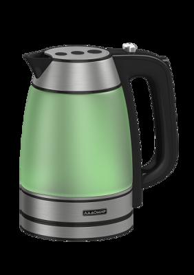 Чайник ЛАДОМИР мод. 128 арт.4 2кВт/1,7 литра/зеленый цвет молодой травыЧайники<br><br><br>Артикул: 3947<br>Бренд: ЛАДОМИР<br>Материал: стекло<br>Потребляемая мощность (Вт): 2000<br>Блокировка включения без воды: есть<br>Нагревательный элемент: скрытый<br>Гарантия производителя: да<br>Общий объем (л): 1,7<br>Цвет: зеленый<br>Указатель уровня воды: да<br>Индикация включения : есть<br>Автоотключение при закипании: есть<br>Вращение на 360 градусов: есть