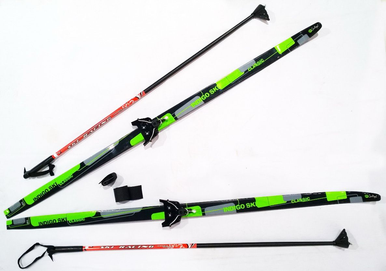 Лыжный комплект п/пл INDIGO CLASSIC 1,7м лыжи, 75 кр, палки, стяжки 75 кр, п, 1.7 Зеленый от Ravta