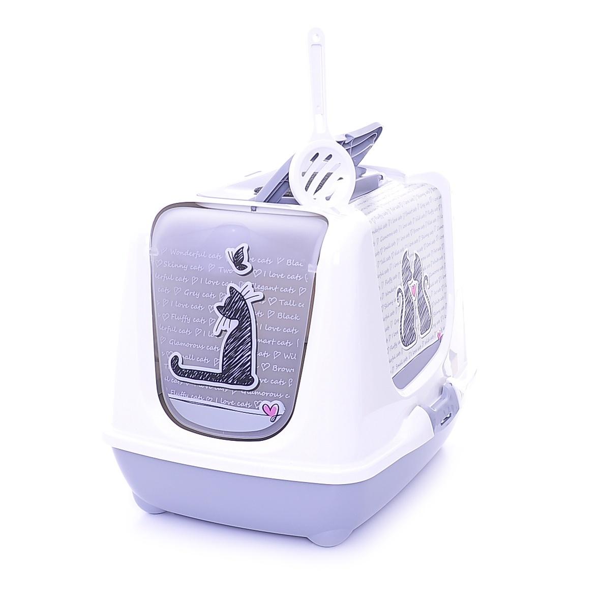 moderna Moderna Туалет-домик Trendy cat с угольным фильтром и совком, 57х45х43, Влюбленные коты 20496