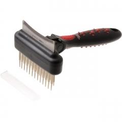 Грабли двухсторон. двухрядн. c плав.зубьями с фурминатором (с изгибом), 60 зуб., 6.5 см от Ravta