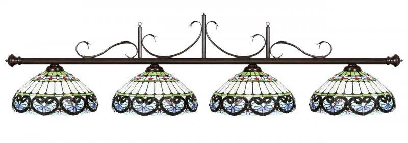Лампа на четыре плафона CasablancaАксессуары для бильярда<br><br><br>Артикул: 73-B80-OB<br>Бренд: Casablanca