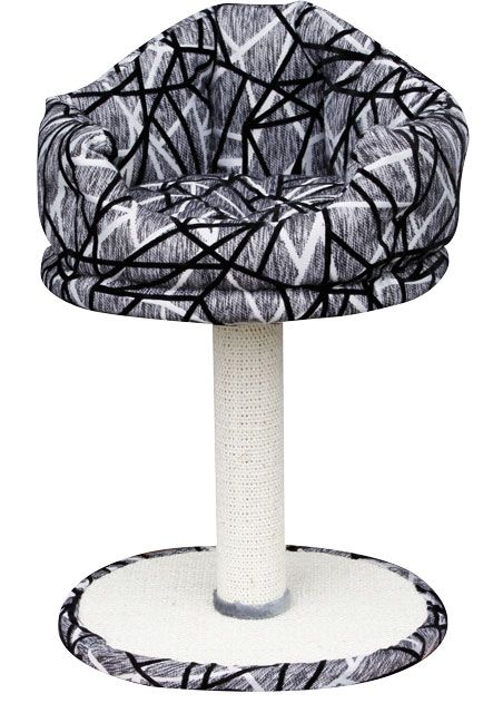 Когтеточка-столбик с мягким местом, 40*35*63 см, серый/черн. от Ravta