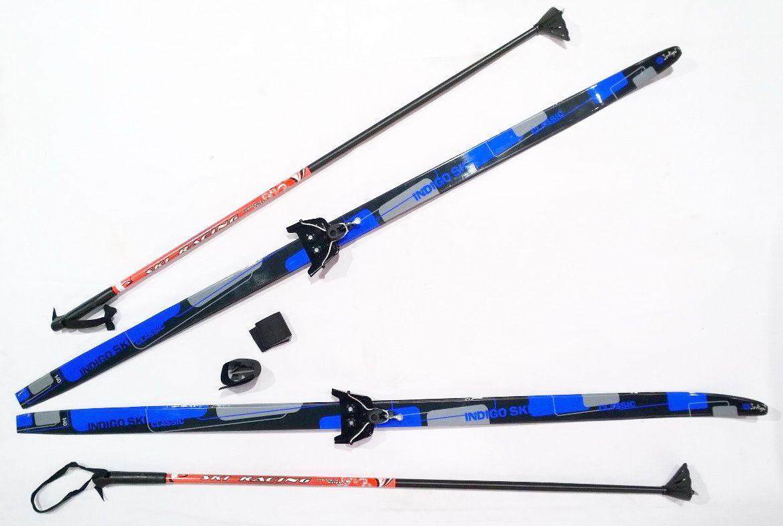 Лыжный комплект п/пл INDIGO CLASSIC 1,6м лыжи, 75 кр, палки, стяжки 75 кр, п, 1.6 Синий от Ravta
