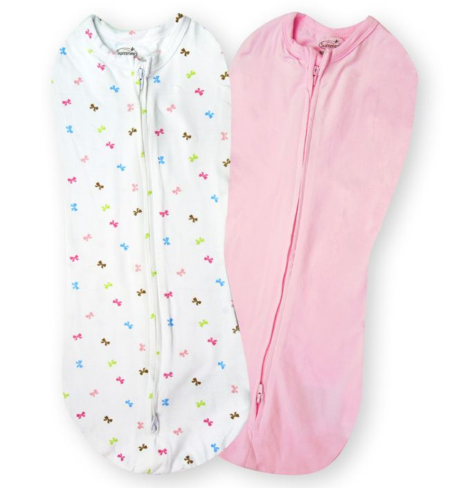 Конверты для пеленания на молнии SwaddlePod (2 шт.) (цвет - Розовый/белый с бантиками), Summer Infant от Ravta