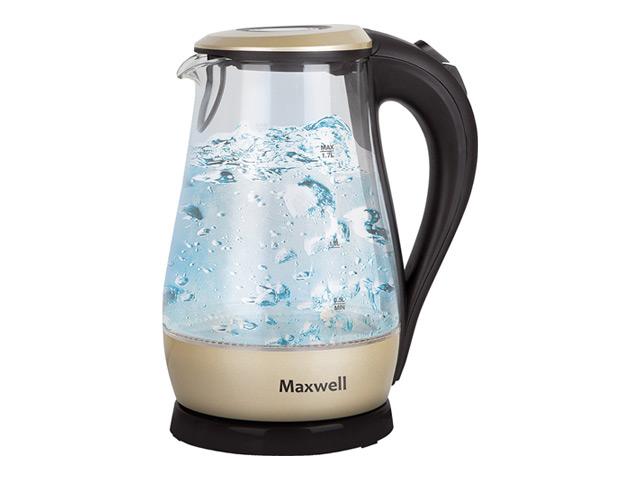 Чайник Maxwell MW-1041 GD (золотой)Чайники<br><br><br>Бренд: Maxwell<br>Материал: стекло<br>Потребляемая мощность (Вт): 2200<br>Отсек для сетевого шнура: есть<br>Подсветка: да<br>Блокировка включения без воды: есть<br>Нагревательный элемент: скрытый<br>Гарантия производителя: да<br>Общий объем (л): 1,7<br>Цвет: бежевый<br>Указатель уровня воды: да<br>Индикация включения : есть<br>Автоотключение при закипании: есть