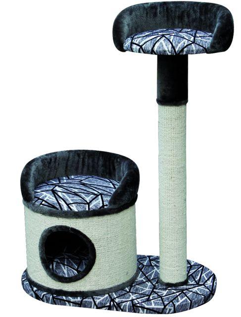 """Когтеточка """"Дом с лежаком + столбик с лежаком"""", 80*50*114 см, серый/черн. от Ravta"""