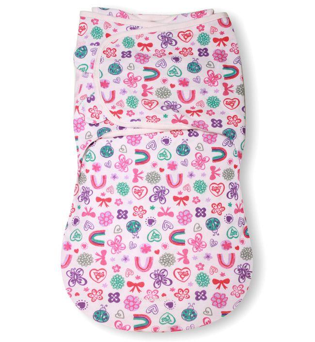 Конверт для пеленания на липучке SwaddleMe WrapSack (цвет - Бабочки/бантики (размер L)), Summer Infant от Ravta