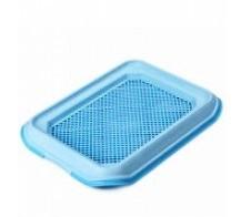 Туалет с решеткой д/собак, 33х45 см, голубой D1-MDM/MUPGL-BL от Ravta