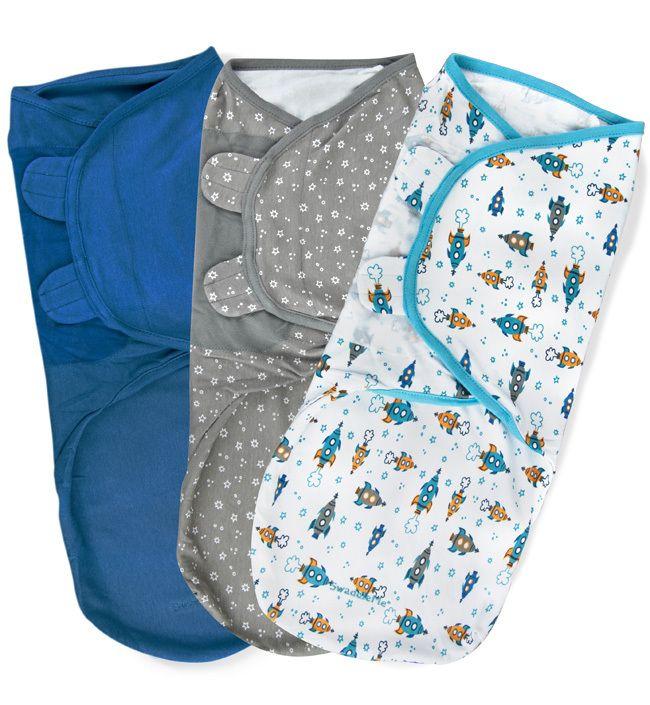 Набор конвертов для пеленания на липучке SwaddleMe (3 шт.) (цвет - Белый с животными/салатовый/капучино), Summer Infant от Ravta