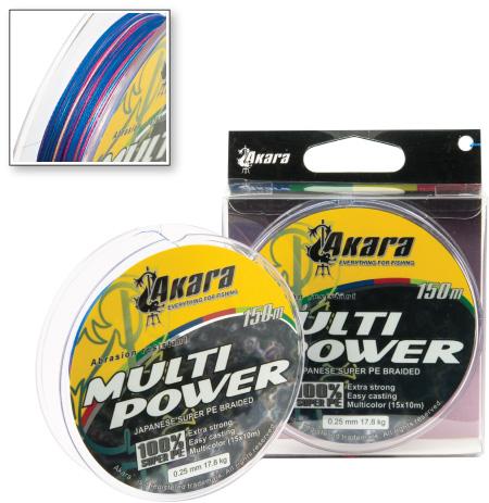 Шнур Akara Multi Power 150 м 0,14Плетёные шнуры<br><br><br>Артикул: AMCP-150-014<br>Бренд: AKARA<br>Количество штук в упаковке: 1<br>Продажа товара кратно упаковке: Да