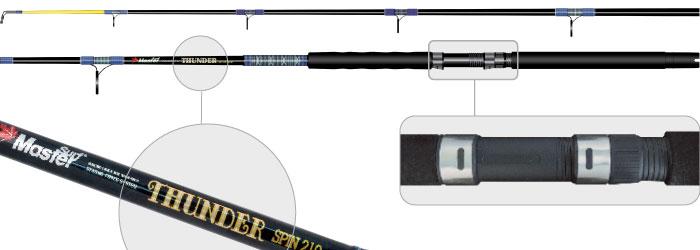 Спиннинг штек. ст/пласт. 2 колена Surf Master 1354 Thunder (300-500) 2,1 мСпиннинги<br><br><br>Артикул: SM1354-210<br>Бренд: Surf Master<br>Количество штук в упаковке: 1<br>Продажа товара кратно упаковке: Да