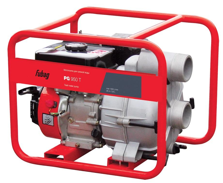 Мотопомпа FUBAG PG  950 T, 5.1кВт Fubag 4-х/тактн. АИ-92 сильнозагряз.без абр.част.(30мм) 1000л/м 26/8м 80/80мм бак3.6л 64кг PG 950TМотопомпы<br><br><br>Артикул: PG 950T<br>Бренд: FUBAG<br>Родина бренда: Германия